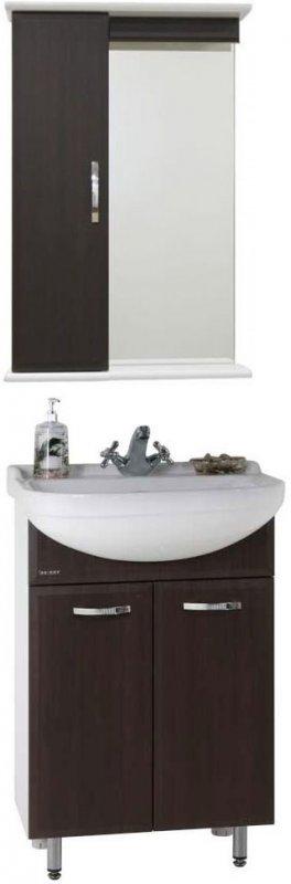 Водолей Мебель для ванной Классик 55 венге, зеркало-шкаф с подсветкой