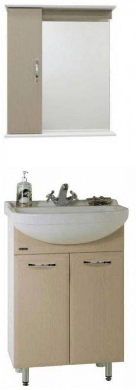 Водолей Мебель для ванной Классик 60 L дуб, зеркало-шкаф с подсветкой