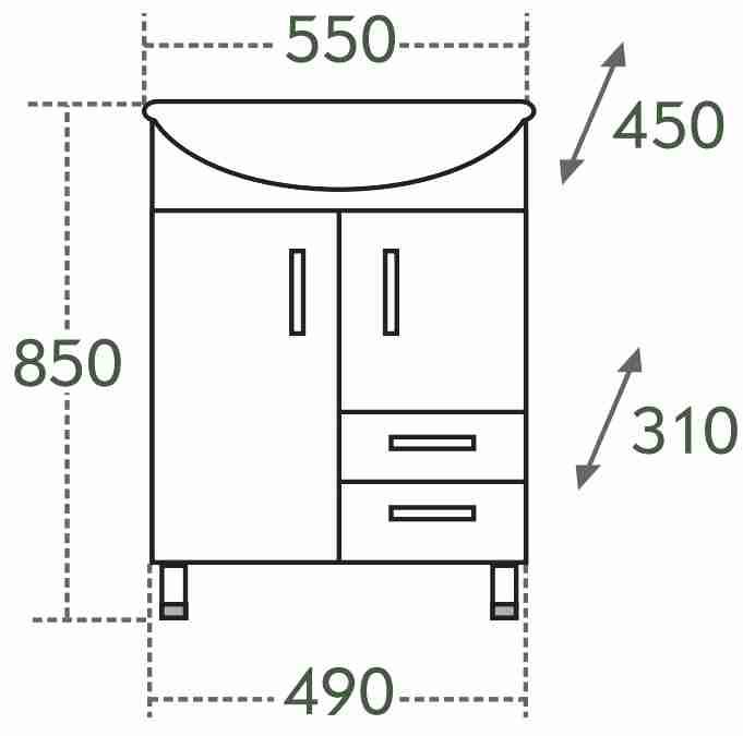 СанТа Мебель для ванной Уют Герда 55 с ящиками