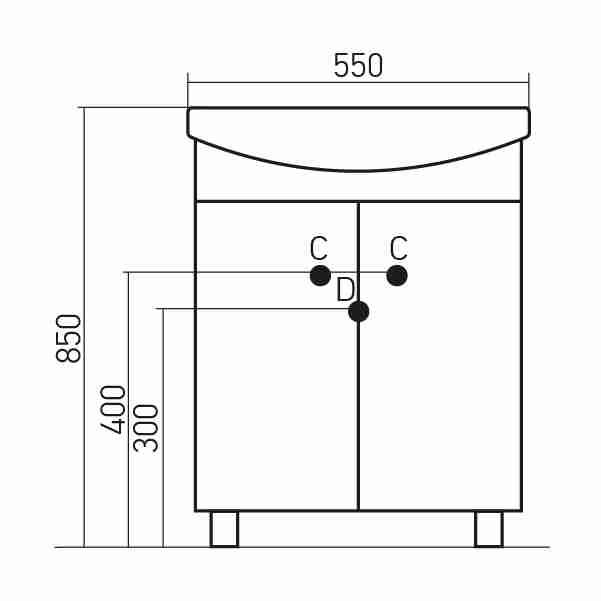 Mixline Мебель для ванной Калипсо-2 55 L