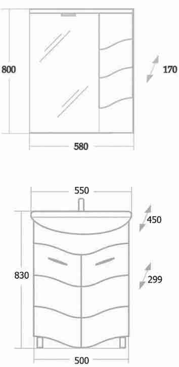 Onika Мебель для ванной Лайн 55 R