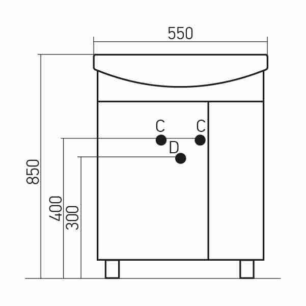 Mixline Мебель для ванной Вилена 55 L