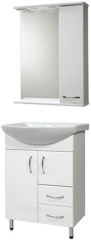 СанТа Мебель для ванной Грация Прима 60 R свет, с ящиками