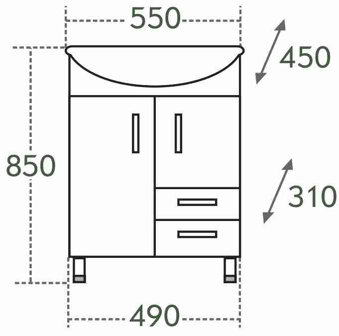 СанТа Мебель для ванной Уют Герда 55 свет, с ящиками