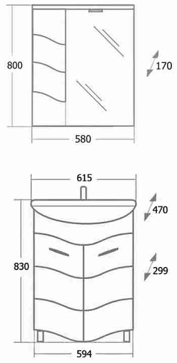 Onika Мебель для ванной Лайн 60 L