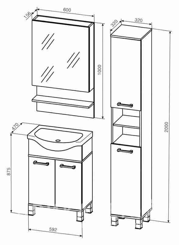 Бриклаер Мебель для ванной Карибы 60 дуб кантри/венге