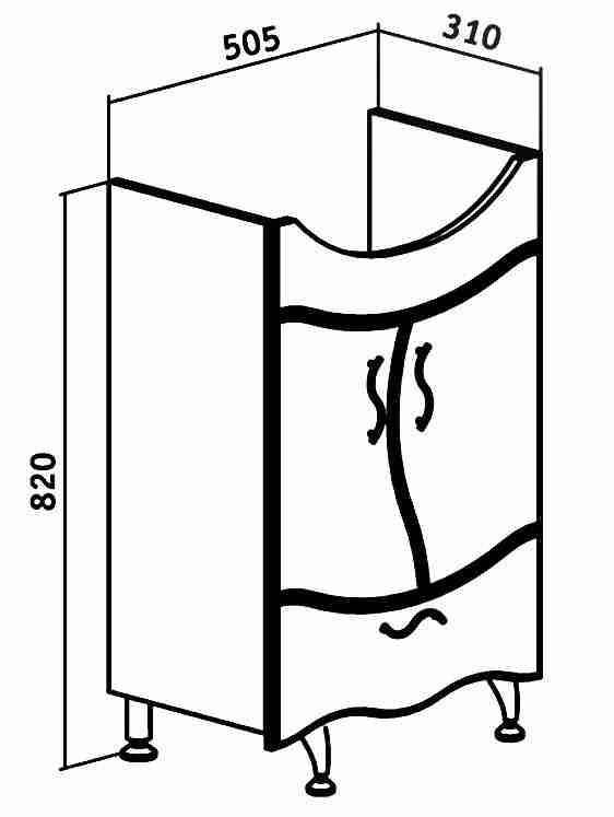 Runo Мебель для ванной Бриз 55 Ксения