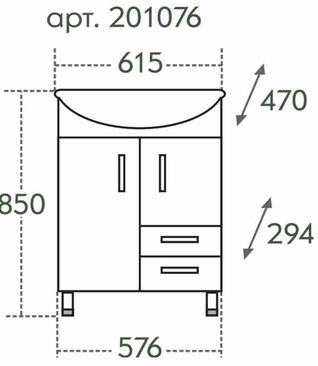 СанТа Мебель для ванной Сити Волна 60 R свет, с ящиками