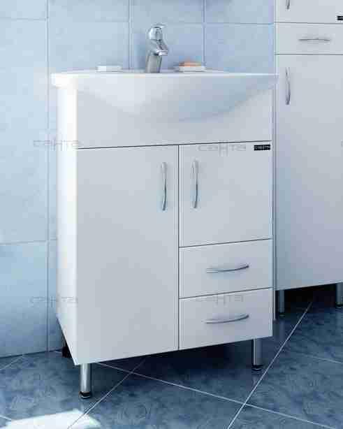 СанТа Мебель для ванной Грация Волна 60 L свет, с ящиками