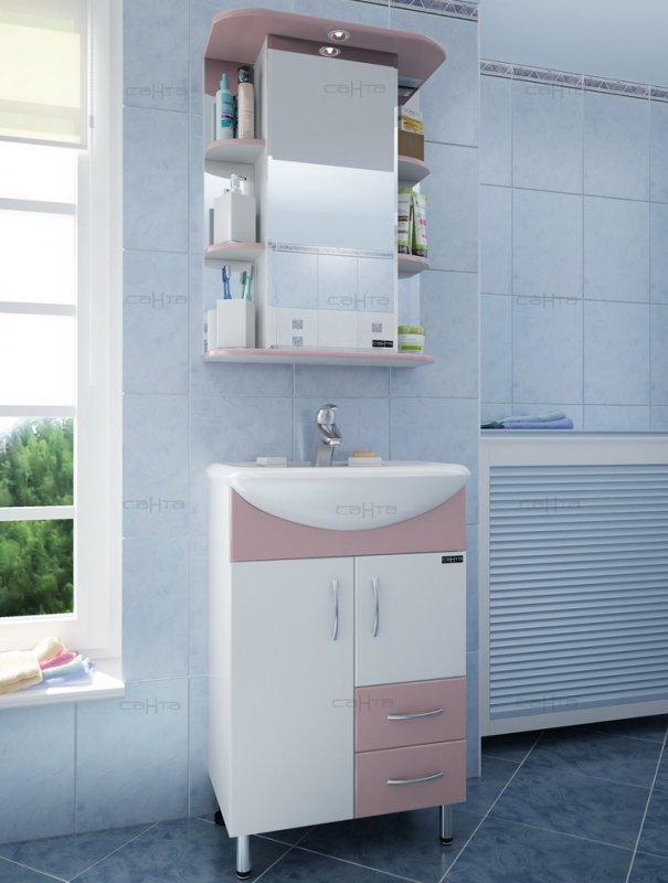 СанТа Мебель для ванной Уют Герда 55 с ящиками, роза