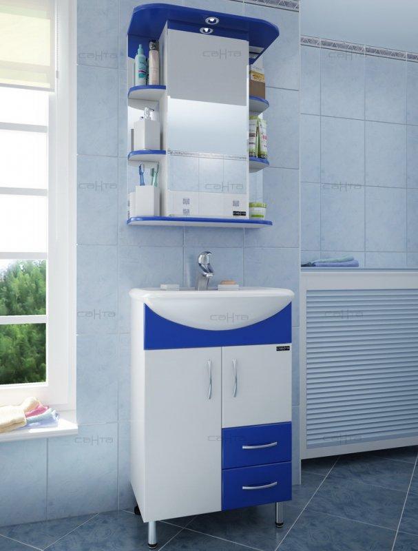 СанТа Мебель для ванной Уют Герда 55 с ящиками, синяя
