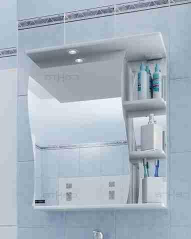 СанТа Мебель для ванной Сити Волна 60 L свет, с ящиками
