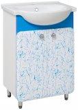 Runo Тумба с раковиной Капри 55 синяя