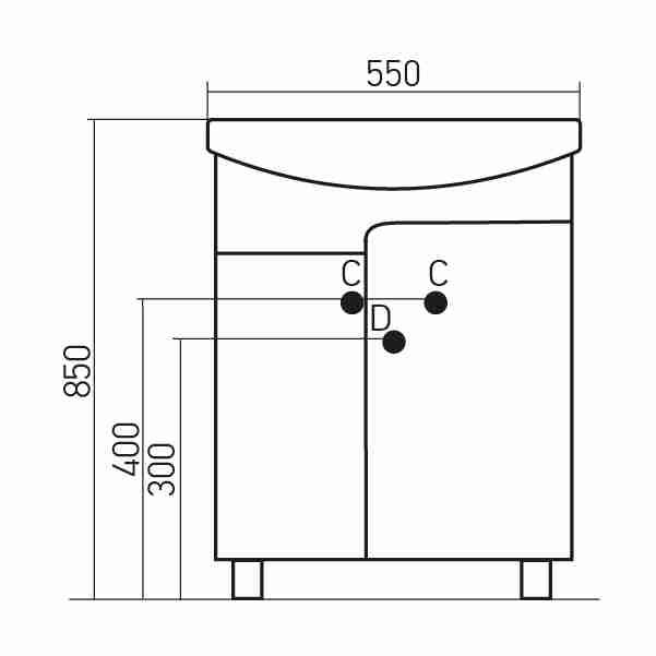 Mixline Мебель для ванной Посейдон 55 R голубая