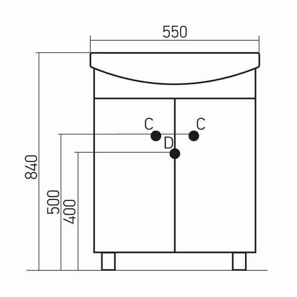 Mixline Мебель для ванной Стандарт 55 L