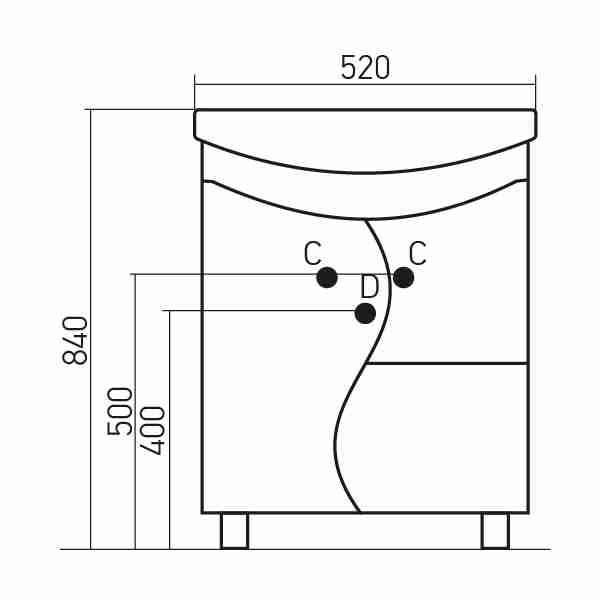 Mixline Мебель для ванной Классик 52 R (зеркало 55)