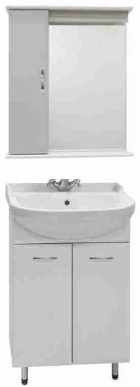 Водолей Мебель для ванной Классик 50 белая, зеркало-шкаф с подсветкой