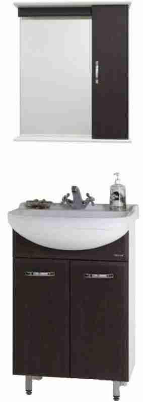 Водолей Мебель для ванной Классик 60 R венге, зеркало-шкаф с подсветкой