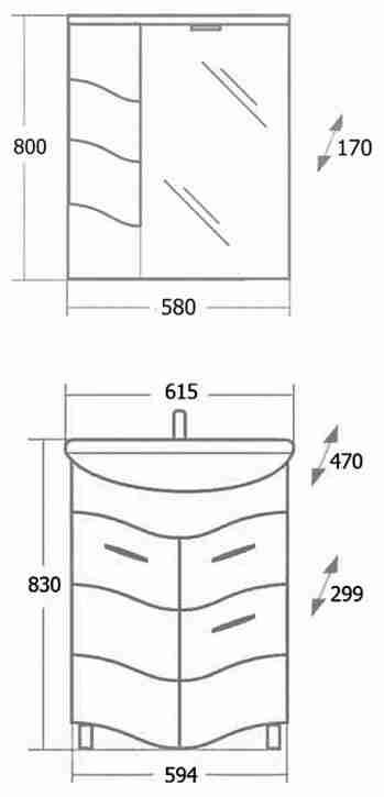 Onika Мебель для ванной Лайн 60 с ящиком L